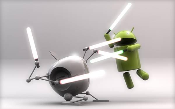 01.ライトサーベルでAppleのリンゴと戦うドロイド君のCG壁紙画像