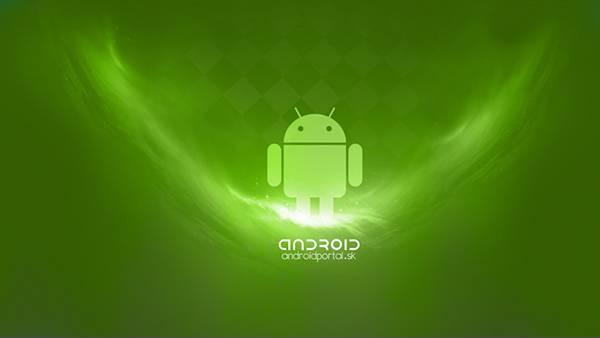 Androidの文字とドロイド君のシンプルな壁紙画像