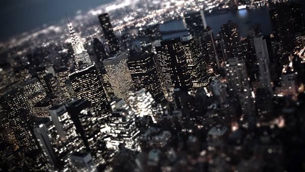 ビル街の夜景を上空から撮影した美しい写真壁紙画像