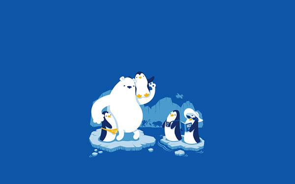 流氷の上のペンギンの家族とシロクマの可愛いイラスト壁紙画像