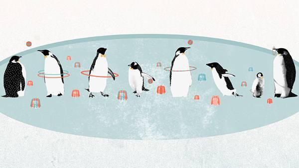 氷の上で遊ぶたくさんのペンギン達を描いたレトロ風のイラスト壁紙画像