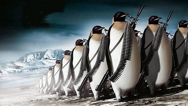 銃を持って隊列を組むペンギンの兵隊たちのリアルなイラスト壁紙画像