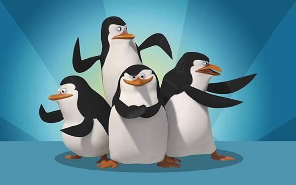 かっこいいポーズを決める4匹のペンギンたちの可愛いイラスト壁紙画像