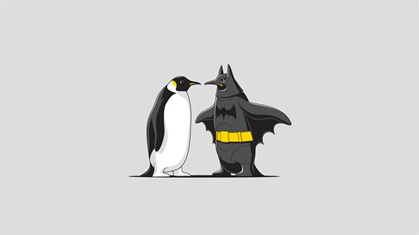 ある意味リアルなバットマンとペンギンのイラスト壁紙画像