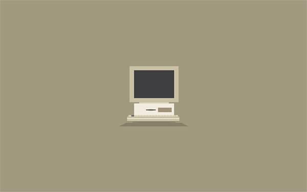 古いコンピューターをシンプルにデザインしたオシャレなイラスト壁紙画像