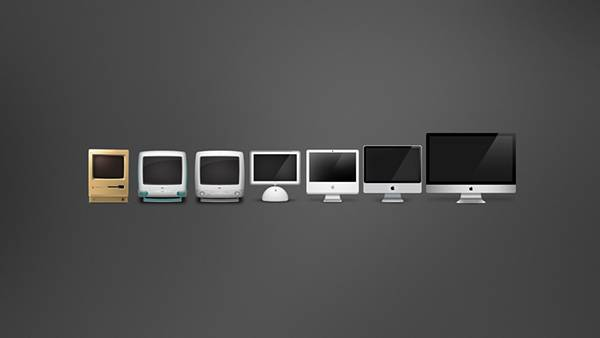 歴代のMacを並べたイラスト壁紙画像