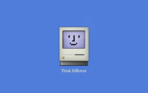 シンプルな青背景に古いMacをデザインしたイラスト壁紙画像