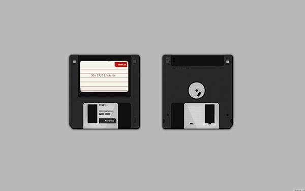 2枚のフロッピーディスクをデザインしたシンプルでクールなイラスト壁紙画像