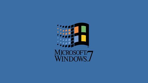 古いタッチでWindows7のロゴをデザインしたシンプルなイラスト壁紙画像