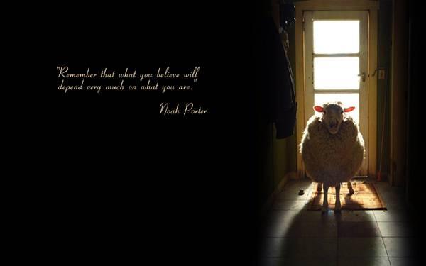 玄関の前の羊とNoahPorterの言葉をデザインした壁紙画像