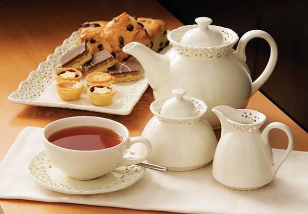 01.紅茶とティーポットとお菓子を撮影した綺麗な写真壁紙画像