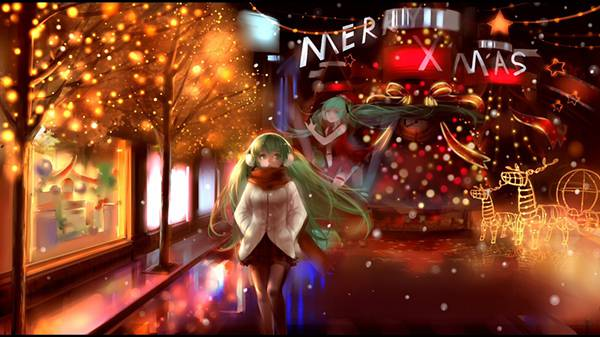 イルミネーションが綺麗なクリスマスの街並みを歩く初音ミクの綺麗なイラスト壁紙