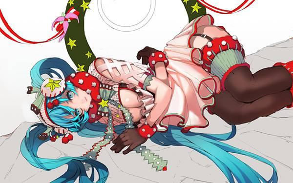 クリスマス風のファッションの初音ミクの可愛いイラスト壁紙画像