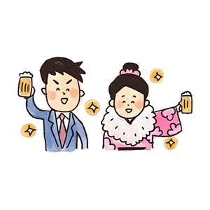 成人式のイラスト「ビールで乾杯する新成人」