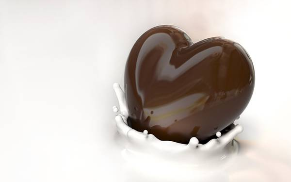 12.ミルクに落としたハート型のチョコレートを撮影した可愛い写真壁紙画像