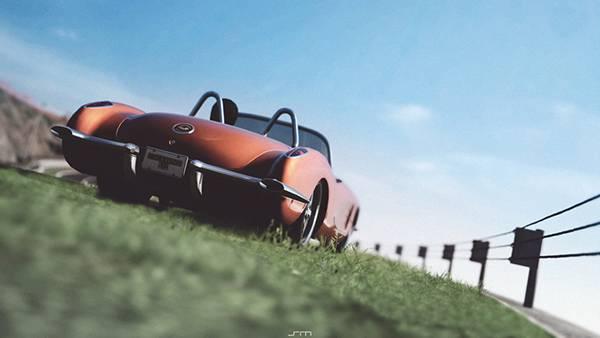 02.シボレーのクラシックカーを撮影したレトロでオシャレな写真壁紙画像
