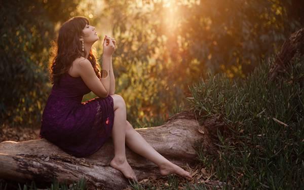 10.森の上の木に座ったドレス姿の女性を撮影した美しい写真壁紙画像