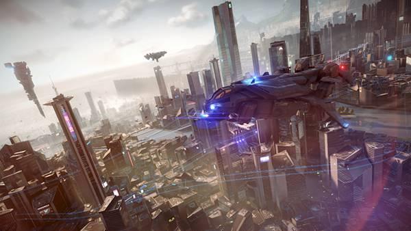 01.未来都市の上空を飛ぶ小型の宇宙船をリアルに描いたかっこいいイラスト壁紙画像