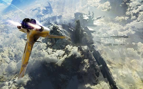02.雲の上から地表を見下ろす黄色い宇宙船の綺麗なイラスト壁紙画像