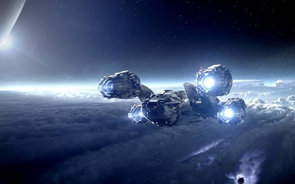 宇宙空間を飛ぶ宇宙船画像