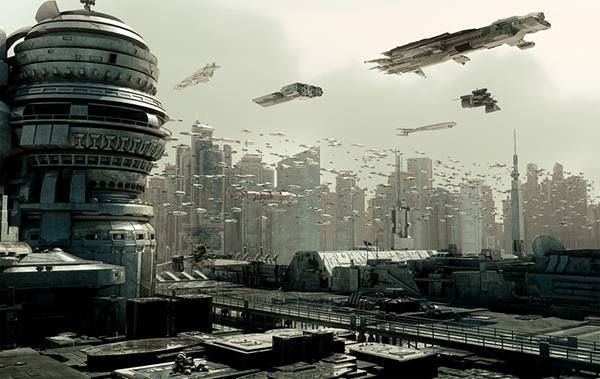 04.無数の宇宙船が飛び交う未来都市を描いたかっこいいイラスト壁紙画像