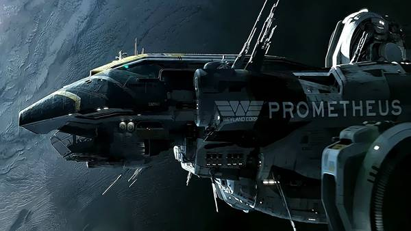 05.宇宙船を横からアップで描いたかっこいいイラスト壁紙画像