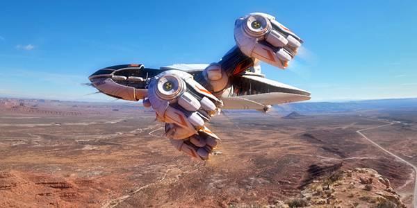 06.荒野の上空を飛ぶ宇宙船を描いた綺麗なイラスト壁紙画像