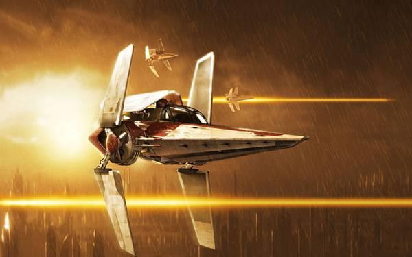 07.雨の未来都市を飛び交う3機の宇宙船を描いたかっこいいイラスト壁紙画像