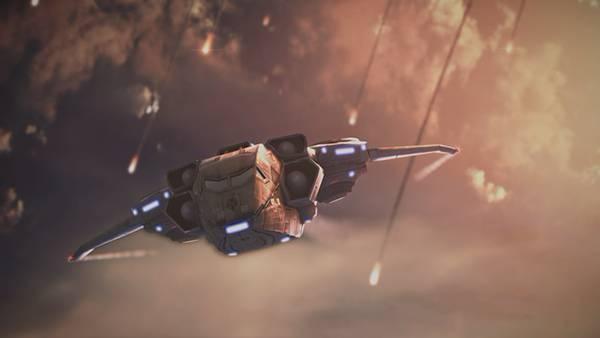 08.落下する破片の中をかいくぐって飛ぶ宇宙船を描いたイラスト壁紙画像