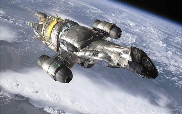 09.地球の上を飛ぶメタリックな質感の宇宙船を描いたリアルなイラスト壁紙画像