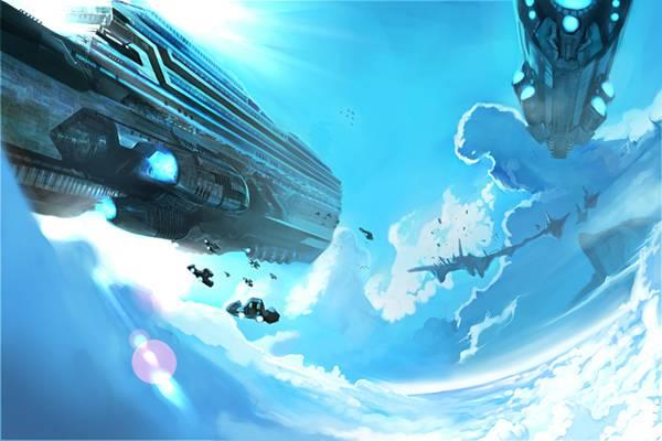 10.青空の中を飛ぶ巨大な母船と小型船を描いたイラスト壁紙画像