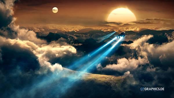 青い光を伸ばす宇宙船画像