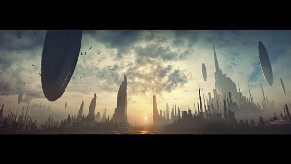 12.未来都市と浮遊する円盤型の宇宙船を描いたかっこいいイラスト壁紙画像