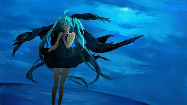 04.黒いドレスを着た海辺の初音ミクを描いた綺麗なイラスト壁紙画像