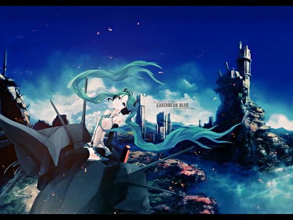 要塞都市風の背景に初音ミクを描いたかっこいいイラスト壁紙