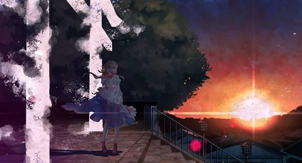 12.夕日と鳥居の前の初音ミクを描いた綺麗なイラスト壁紙画像