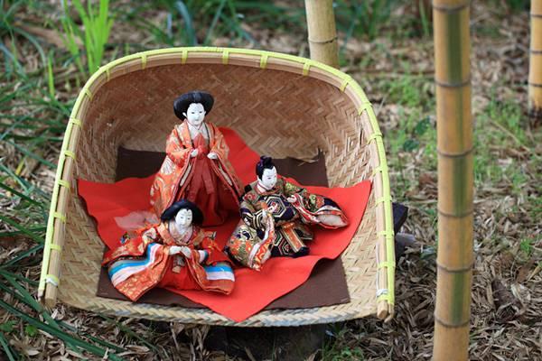 竹やぶの中の雛人形の綺麗なフリー写真素材
