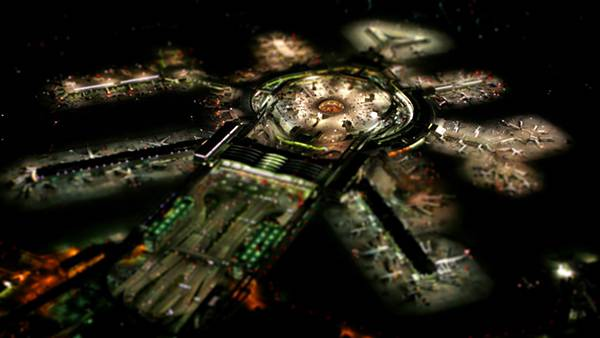 11.夜のライトアップされた空港を上空から撮影した綺麗な写真壁紙画像