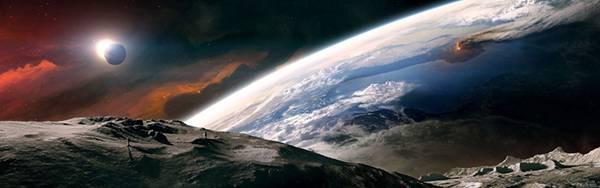 01.月面を歩く宇宙飛行士を描いたイラスト壁紙画像