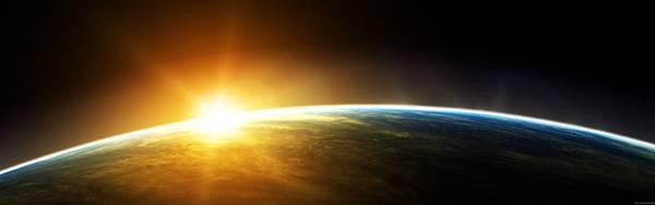 02.地球の日の出を宇宙から描いた超高解像度なイラスト壁紙画像