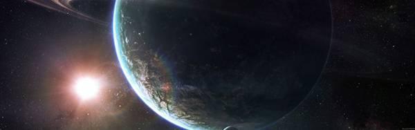 04.地球と赤く輝く星を描いた美しいイラスト壁紙画像
