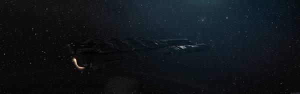 08.黒い宇宙船を描いたかっこいいイラスト壁紙画像