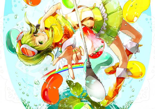 02.水中の泡とGUMIの綺麗なカラフルで綺麗なイラスト壁紙画像