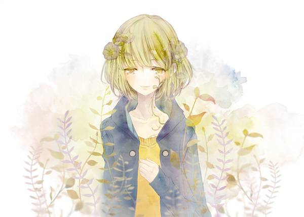 04.頭に花飾りを付けたGUMIを水彩画風に描いた可愛いイラスト壁紙画像