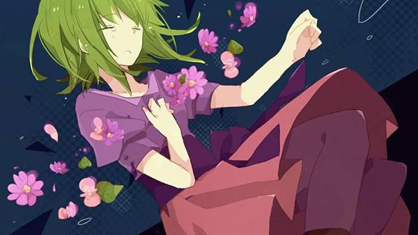 11.花と涙を流すGUMIの綺麗なボカロイラスト壁紙画像