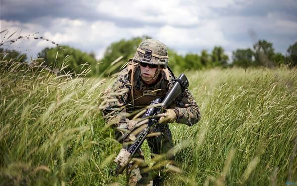 05.身を潜めて草原の中を進む兵士のかっこいいミリタリー系写真壁紙画像