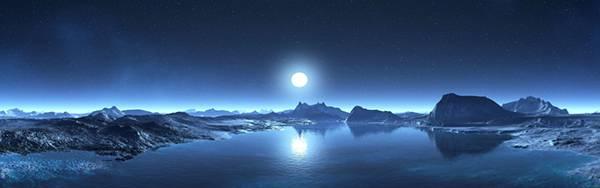 05.大きな月の輝く夜空の風景を撮影した大自然の写真壁紙画像