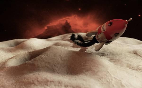 01.月面をふらふら飛ぶロケットの可愛い3DBGイラスト壁紙画像