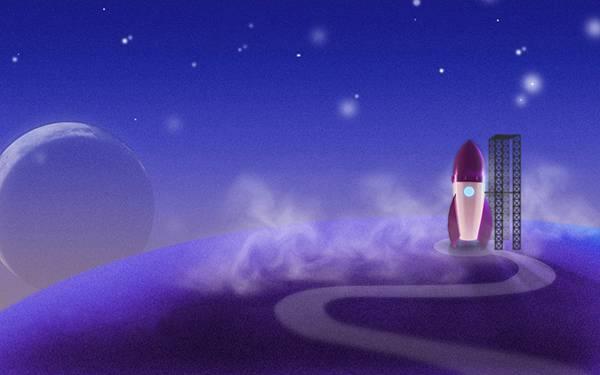 03.発射台にセットされたロケットをデザインした可愛いイラスト壁紙画像