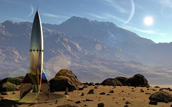 05.荒野に降り立ったロケットのかっこいい3DCGイラスト壁紙画像